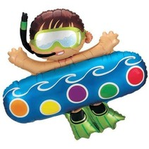 "***Boy on Pool Float 40"" Mylar Balloon"