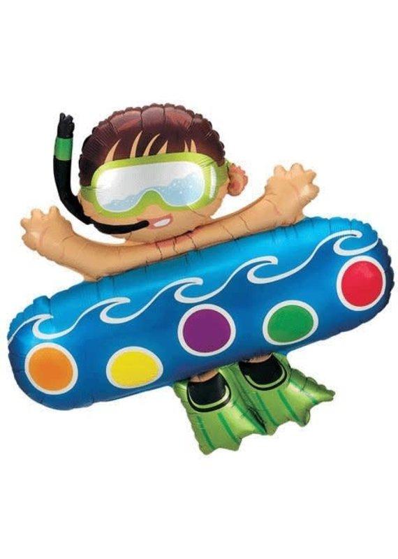 "****Boy on Pool Float 40"" Mylar Balloon"
