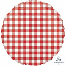 "***Red Gingham Picnic Plaid 18"" Mylar Balloon"