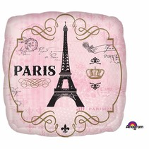 "***Paris 18"" Square Mylar Balloon"