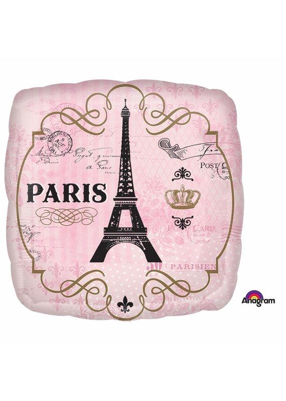 "*****Paris 18"" Square Mylar Balloon"