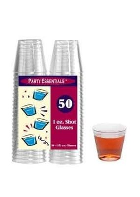 ***Clear 1oz Plastic Shot Glasses 50ct