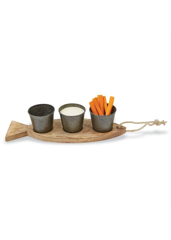 ***Wood Fish Platter with Dip Cups