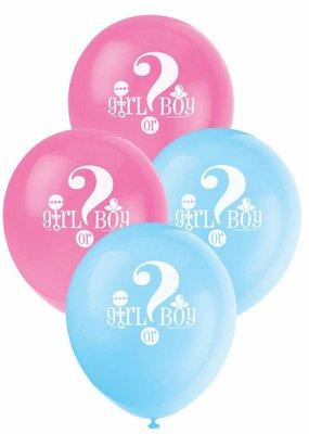 "***Gender Reveal 12"" Latex Balloons 8ct"