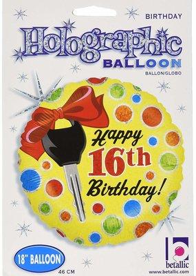 ***Car Keys 16th Birthday Mylar Balloon