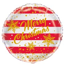 ***Red Gold Merry Christmas Mylar Balloon