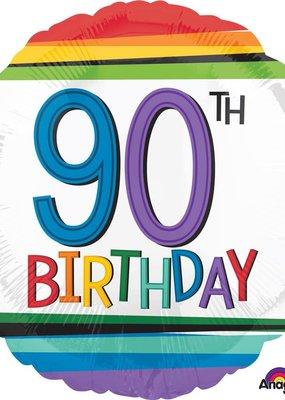***Rainbow Birthday 90 Mylar Balloon