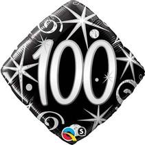 ***Elegant Sparkle Swirl 100 Mylar Balloon