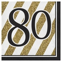 ***Black & Gold 80th Lunch Napkins