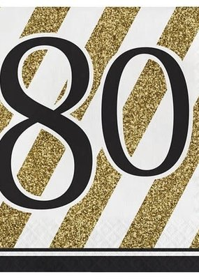 ***Black & Gold 80th Lunch Napkins 16ct