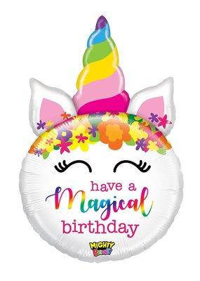 "***Magical Birthday Unicorn 33"" Mylar Balloon"