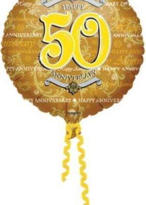 ***Gold 50th Anniversary Mylar Balloon