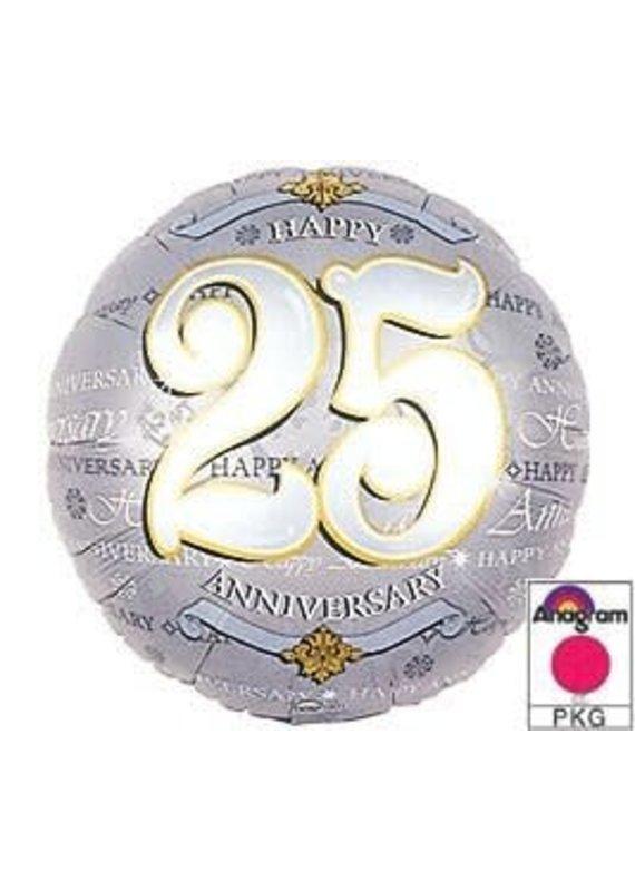 ****Silver 25th Anniversary Mylar Balloon