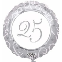***Silver 25th Anniversary Mylar Balloon