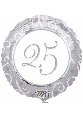 M&D industries ***Silver 25th Anniversary Mylar Balloon