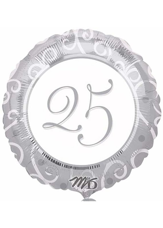 M&D industries ***Silver 25th Anniversary Mylar Balloon