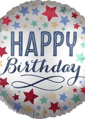 "***Birthday Satin w/Stars 18"" Mylar Balloon"