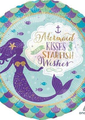 "***Mermaid Kisses 18"" Holographic Mylar Balloon"