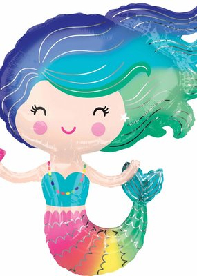 "***Colorful Mermaid 30""x29"" Mylar Balloon"