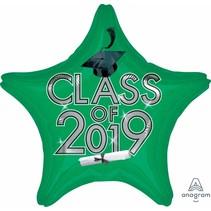***Green Class of 2019 Grad Star Mylar Balloon