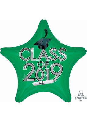 ***Green Class of 2019 Grad Star Mylar Balloon