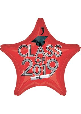 ***Red 2019 Star Grad Mylar Balloon