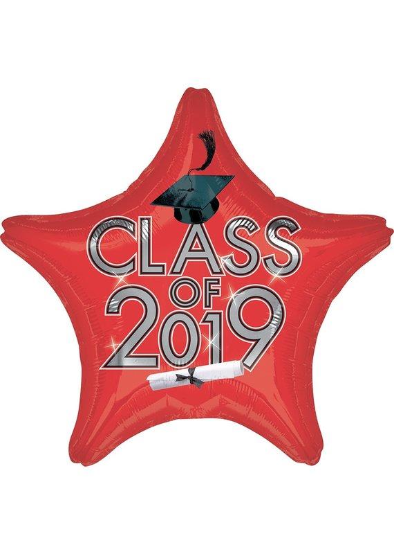 ***Red 2019 Star Grad Mylar Balloon