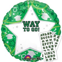 ***Green Way to Go Mylar Personalize Balloon