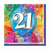 ***Brilliant Balloons 21st Birthday Lunch Napkins 16ct