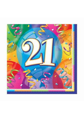 ***Brilliant Balloons 21st Birthday Lunch Napkins 16ct