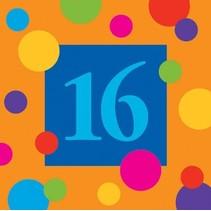 ***Birthday Stripes 16th Birthday Beverage Napkin 16ct