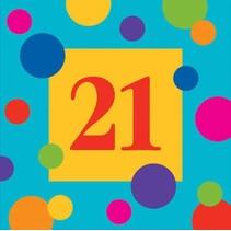 ***Birthday Stripe 21st Birthday Beverage Napkin 16ct