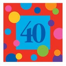 ***Birthday Stripe 40th Beverage Napkin 16ct