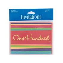 ***Birthday Stripes 100th Party Invitations 8ct