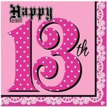 ***Super Stylish 13th Birthday Lunch Napkins 16ct