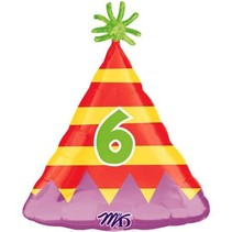 ***Party Hat Number 6 Mylar Balloon