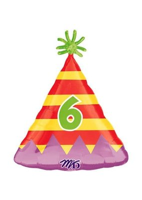 M&D industries ***Party Hat Number 6 Mylar Balloon