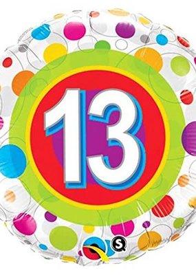 ***Colorful Dots Age 13 Birthday Mylar Balloon