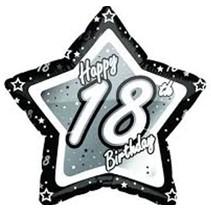 ***Black & Silver 18th Birthday Star Mylar Balloon
