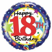 ***18th Birthday Stars Mylar Balloon