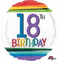 ***Rainbow 18th Birthday Mylar Balloon