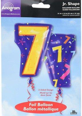 ***Number 7 Blue Junior Shape Mylar Balloon