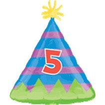 ***5th Birthday Hat Mylar Balloon