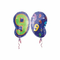 ***Number 9 or 6 Blue & Lime Junior Shape Mylar Balloon