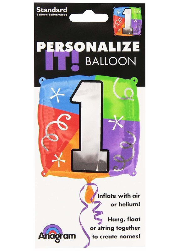 ****Number 1 Square Mylar Balloon