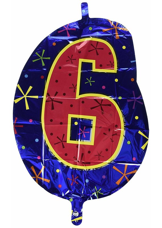 ****Number 6 or 9 Blue & Red Junior Shape Mylar Balloon