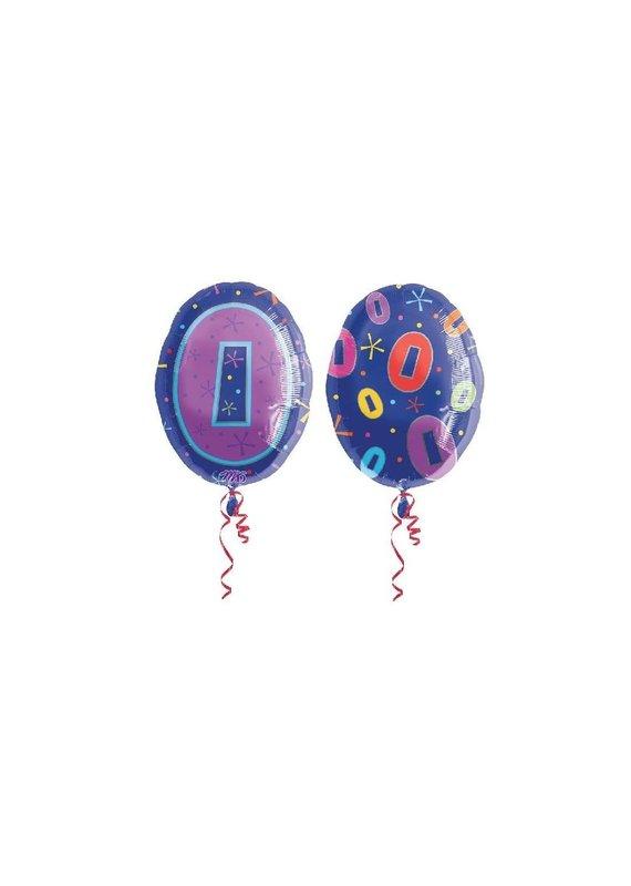 ***Number 0 Zero Blue Junior Shape Mylar Balloon