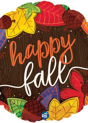 "***Happy Fall Leaves 18"" Mylar Balloon"