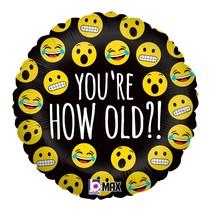 ***Emoji How Old? Mylar Balloon