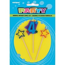 ***Number 4 Star Birthday Candle Set